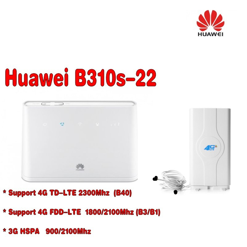 Unlocked Huawei B310s-22 4G LTE FDD Cat4 150Mbps Wireless WiFi Router CPE Modem+4g SMA MINO Antenna unlocked huawei e3372 e3372s 153 150mpbs 4g lte usb dongle 4g lte antenna 35dbi crc9 for e3372 4g lte fdd modem