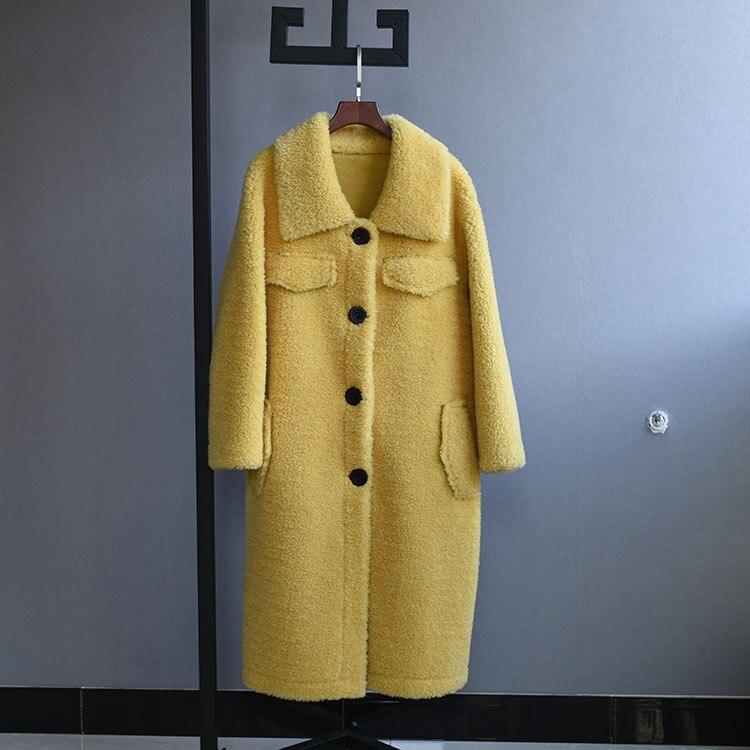 Kadın Giyim'ten Gerçek Kürk'de OFTBUY 2019 Kış Ceket Kadınlar Gerçek Kürk Koyun Shearling Coat Kadın Lambswool Uzun Ceket Yün Parçacıklar Giyim Streetwear'da  Grup 1