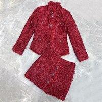 Комплект из двух предметов юбка Длинные рукава роскошные женские пальто 2018 высокое качество осень зима комплекты Для женщин