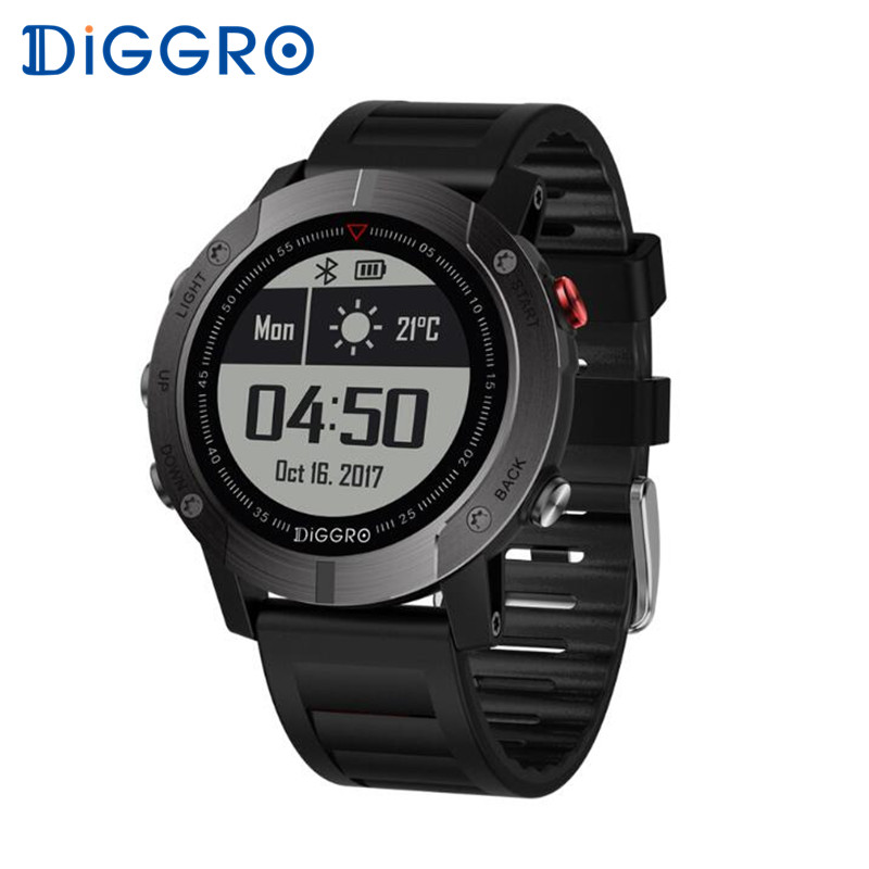 Diggro DI08 GPS Smart Watch Heart Rate Monitor IP68 Waterproof Fitness Tracker Outdoor Sport Smartwatch Multiple for Android IOS fs08 gps smart watch mtk2503 ip68 waterproof bluetooth 4 0 heart rate fitness tracker multi mode sports monitoring smartwatch