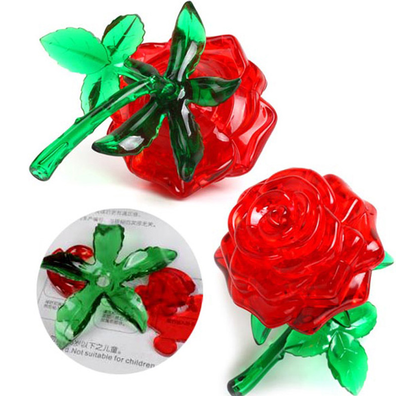 Crystal Furnish Red Rose Cube Jigsaw Puzzle Cute Souptoys 3D IQ Gadget Children Flower Puzzle Toys пазлы crystal puzzle 3d головоломка вулкан 40 деталей