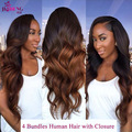 1b 30 Ombre Brazilian Body Wave Hair with Closure 7A Best Blonde Brazilian Hair With Closure Tissage Bresilienne Avec Closure