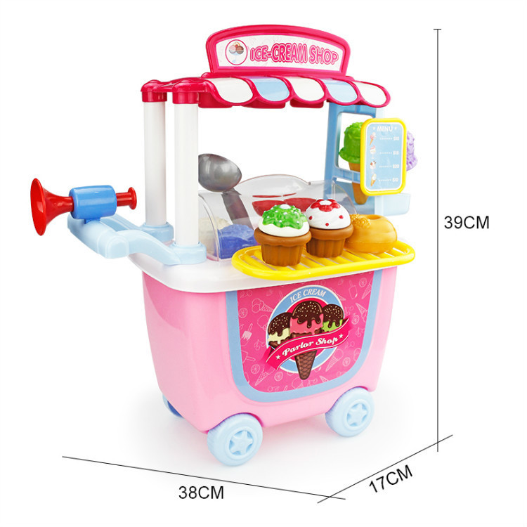 4485 Children Simulation Kitchen Tableware Cosmetics Maintenance Worker Have Ice Cream Hamburger House Trolley Toys