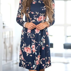2018 Spring Autumn Dress Women Mini Dress O-Neck Floral Print Long Sleeve Dresses Party Vestidos Femme Dropshipping Y9 3