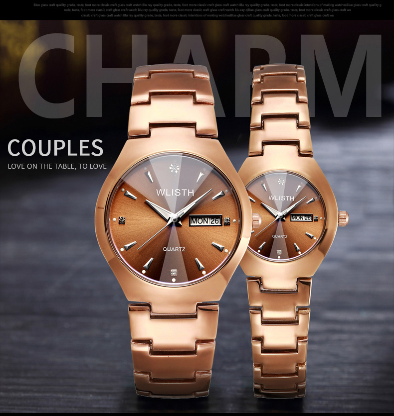 WLISTH Men Watch Tungsten Steel Lovers Women Couple Watches Set Relogio Chinese-English Calendar Quartz Waterproof Couple Watch