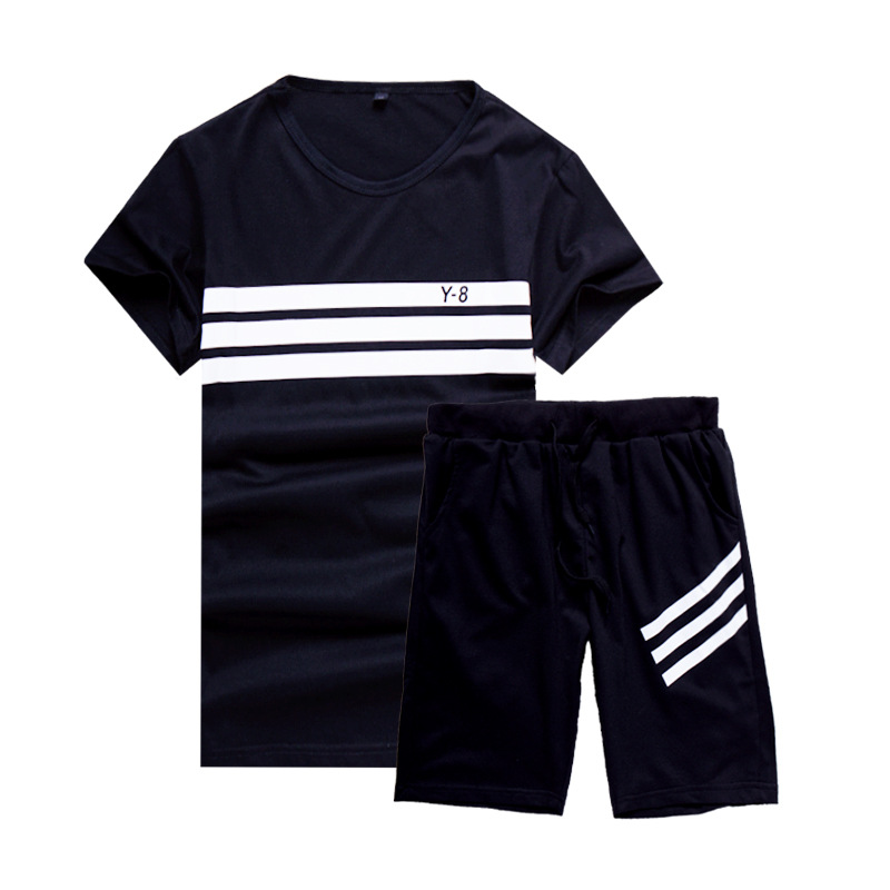New Summer Suit of 2019 Korean Fashionable Two piece Summer Student Men 39 s Short sleeved T shirt in Men 39 s Sets from Men 39 s Clothing