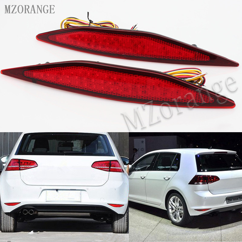 MZORANGE LED Red Lens Rear Bumper Reflector Brake Parking Lights Brake Stop Tail Rear fog light Lamp For VW Golf 7 2013-2015