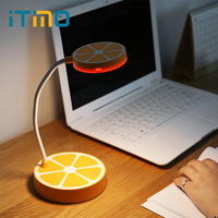 ITimo LED Desk Lamps Cute Orange Shaped Book Reading Light Kids 3 Modes Table Lamp Adjustable