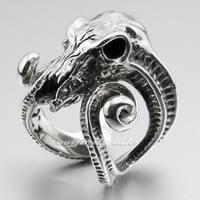 Large Ran Skull Horn Aries 316L Stainless Steel Mens Biker Ring 6R005
