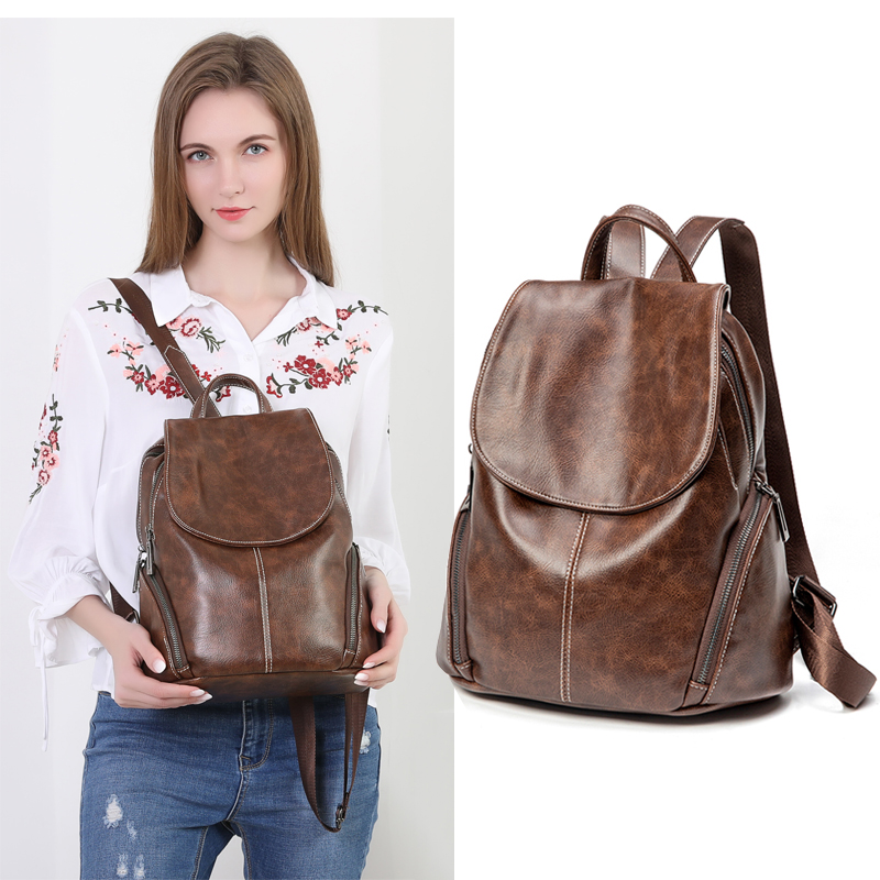 Women Leather Backpacks Vintage Female Shoulder Bags Sac A Dos Travel Ladies Bagpack Mochilas School Bags For Girls Preppy