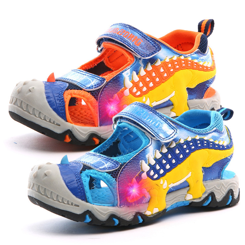 Dinoskulls Sandals Children Light Up Summer Baby Boys Beach Shoes LED 3D Dinosaur Kids Trainers 2019 Boys Shoes