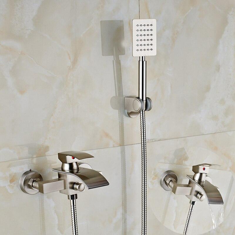 Wall Mount Brushed Nickel Modern Square Rain Shower Sprayer Bathroom Tub Faucet luxury wall mount brushed nickel square shower faucet w hand shower sprayer