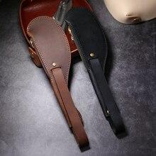 Porte monnaie Boston en cuir de cheval, auto défense anti perte, auto défense, en cuir de cheval fou couture à la main, bord dhuile, boucle en cuivre pur