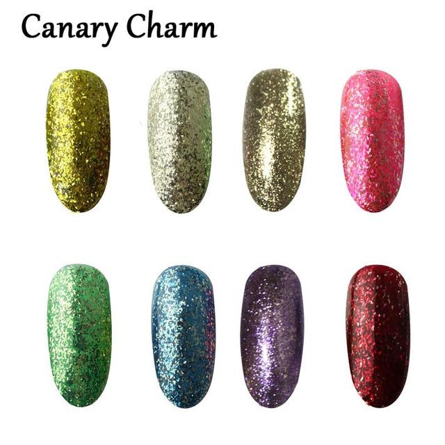 Canary Charm 2016 Newest Summer Color Glitter Shiny Soak Nail Gel Polish Set Blingbling Uv Gel