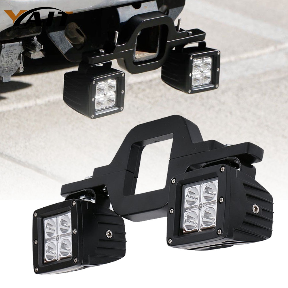 Yait Universal Tow Hitch Bracket Mounting Kit Tube Clamps With 2pcs 3inch LED Pods LED Work Light for Trailer Truck SUV RV trlr hitch receptacle kit