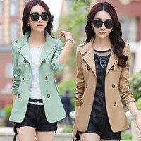 Parkas Womens Spring Korean Slim Jacket 2018 Woman Fashion Thin Double Breasted Short Jackets OL Formal Coat Plus Size XXXL