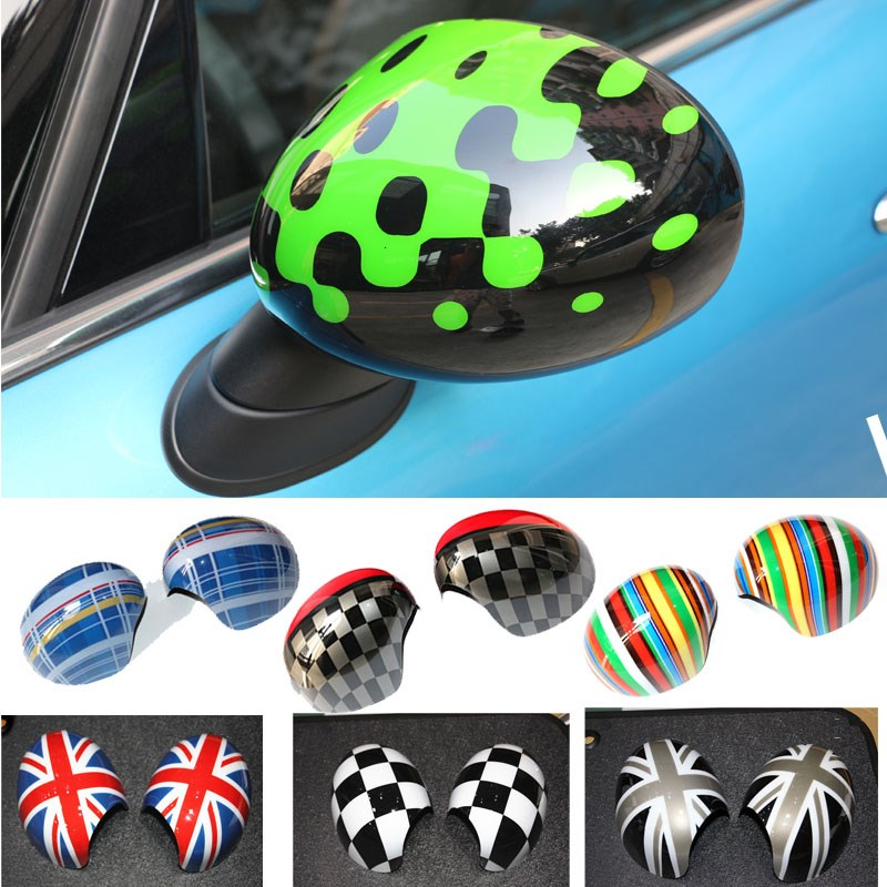 car pink red union jack green bubbles rainbow style mirror cover for mini cooper s jcw