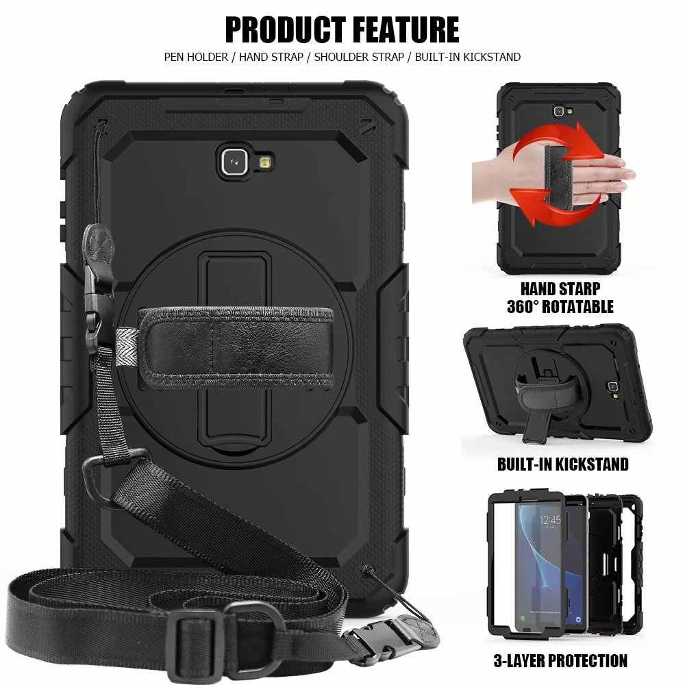 Shockproof Anak-anak Case untuk Samsung Galaxy Tab A 10.1 2016 T580 T585 SM-T580 SM-T585 Cover Kickstand Karet Silikon Armor Case