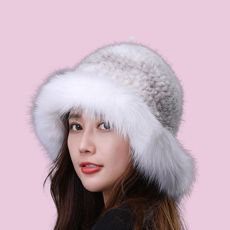 Real Fur Hat Winter For Women's Caps Natural Mink Fur With Fox Fur Hat Luxury Brand New Solid Russian Sun Knitting Buckets Hats