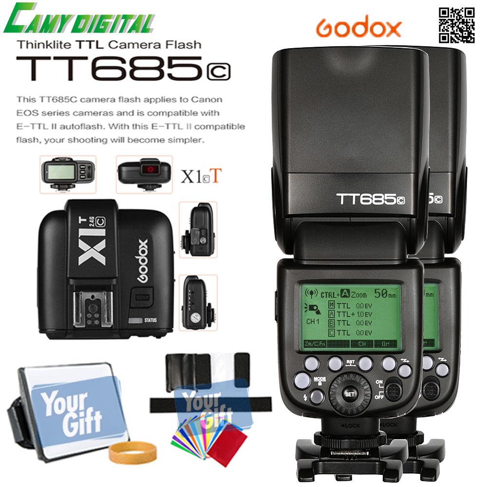 Godox TTL II Autoflash GN60 HSS 1 8000s 2 4G Wireless 2PCS Speedlite TT685C X1T C