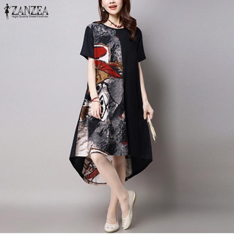 2019 Suvi ZANZEA Naised Vintage prindi kleit vabaaja lahtine O kaelus lühikeste varrukatega ebakorrapäraste Hem keskel vasikas kleit Vestidos pluss suurus
