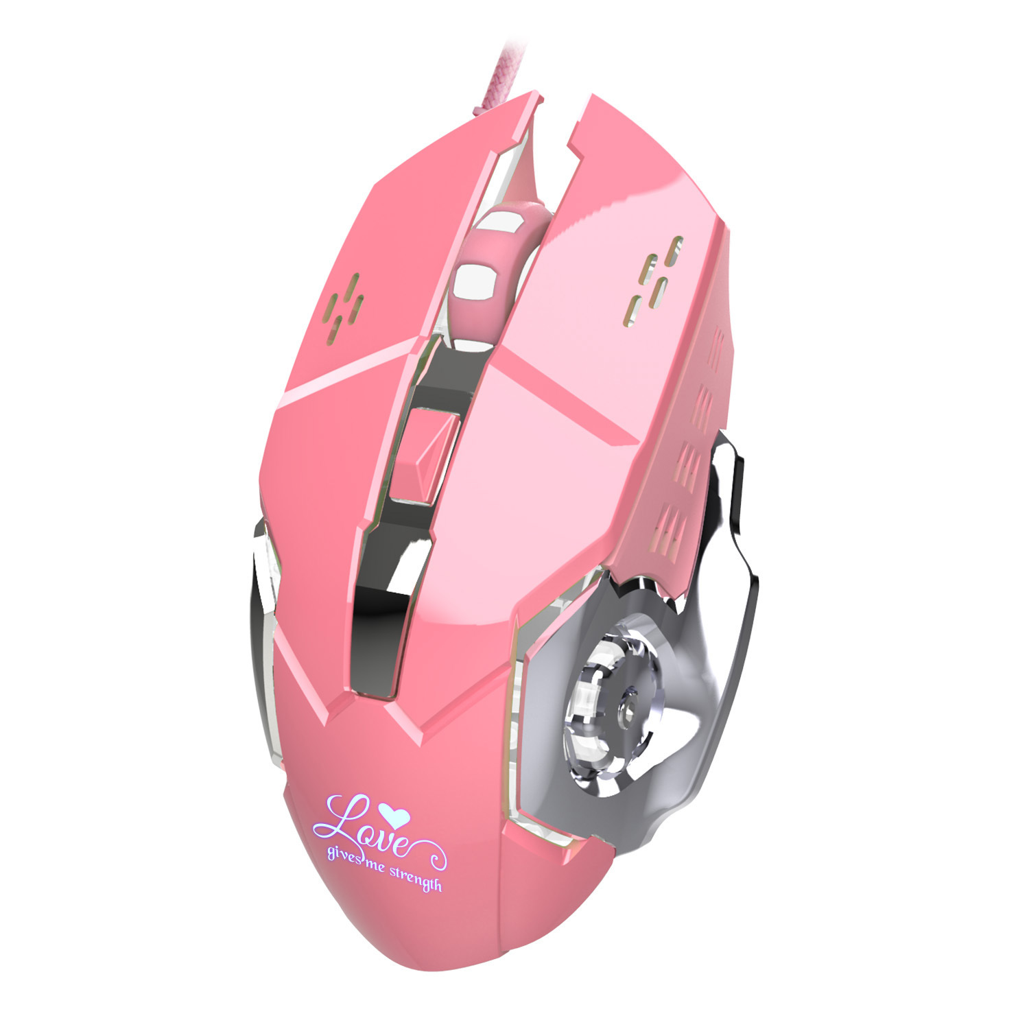 Hongsund Pink Optical Lovely Wired USB Mouse with white Backlit 3200DPI for Macbook