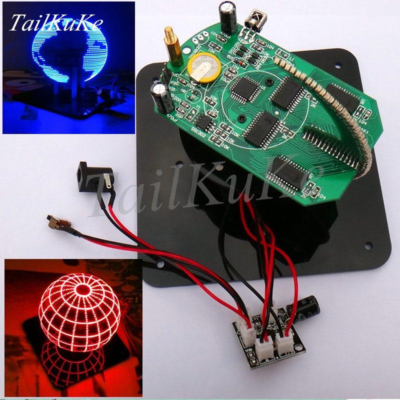 Ball POV Spherical Rotary LED Kit 56 Lamp POV Rotating Clock Parts DIY Electronic Welding Kit Rotating Lamp