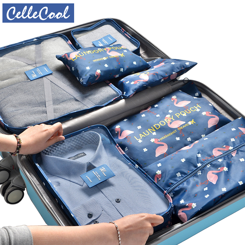 New Oxford Cloth 7PCS/Set Travel Mesh Bag In Bag Luggage Organizer Packing Cube Organiser For Clothing Shoes Travel Accessories