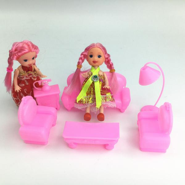 New 6Pcs Dollhouse Furniture Set Plastic Sofa Chair Lamp Table for Barbie Dolls House Decor Kids Toys Classic Toys Girl Gift