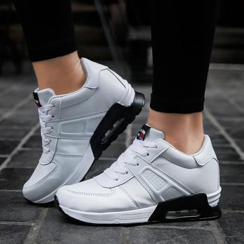 2018 Spring Fashion Korean White Platform Sneakers Women Shoes Wedge Height Increasing Black Leather Casual Shoes Tenis Feminino Сникеры