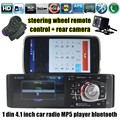1 din Rádio Do Carro de 4.1 Polegada MP4 MP5 Player de Vídeo de Áudio Bluetooth USB controle de volante estéreo TF FM com câmera traseira auxina