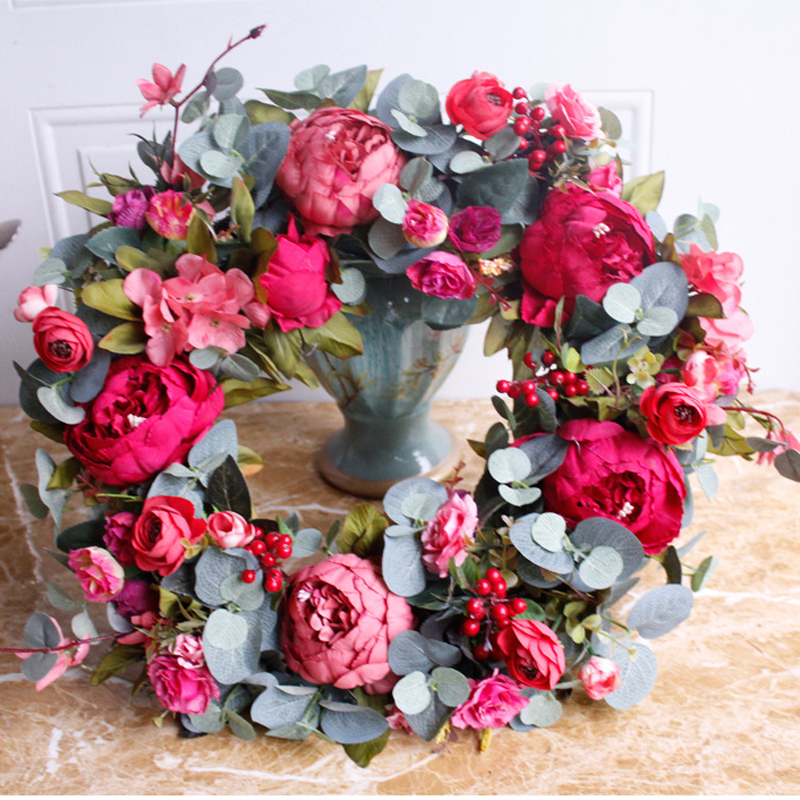 Image 2 - Autumn Peony Wreath Christmas Wreath Red Door Wreath Wall Hanging Garland Ornaments Wall Cumplea Os Decorations Farmhouse-in Wreaths & Garlands from Home & Garden