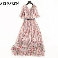 AELESEEN Boho Summer Dress Women 2018 Flare Sleeve Luxury Flower Print Pleated Chiffon Ruffles Maxi Dress Fashion For Women XXL