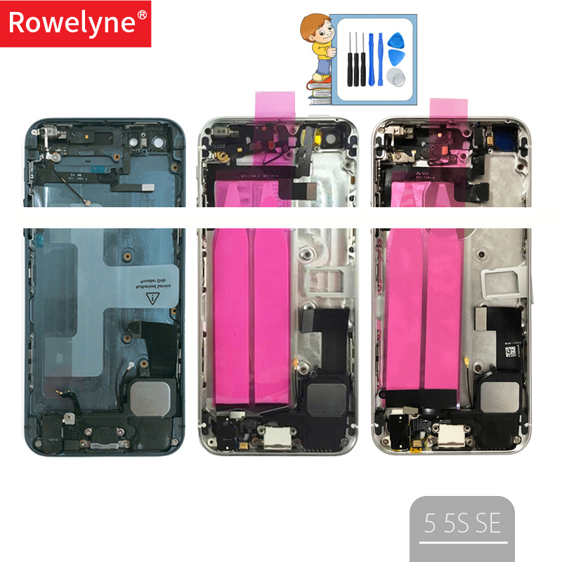 Full Housing For Iphone 5 5G SE 5S Back Cover Battery Door Middle Chassis Frame Housings With Flex Cable Assembly Custom Imei(China)