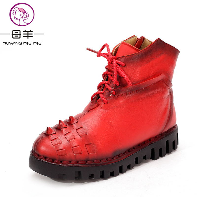 MUYANG MIE MIE Winter Shoes Woman Genuine Leather Snow Boots Casual Ankle Boots Women Warm Shoes Fashion Women Boots muyang mie mie 2017 spring women shoes genuine leather casual shoes woman wedges shoes high heels fashion women pumps