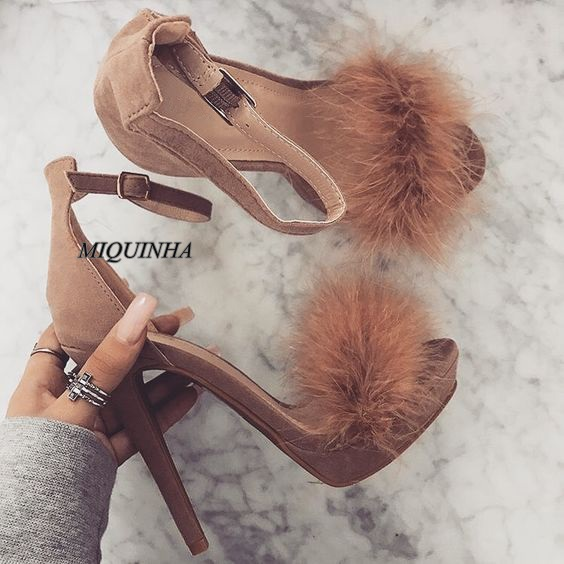 ФОТО newest brown feather women sandals suede leather thin high heel open toe buckle strap shoes cover heel women's favorite shoes
