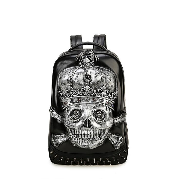 011418 nouveau chaud de haute qualité homme mode punk cool 3D crâne sac à dos en simili cuir polyuréthane