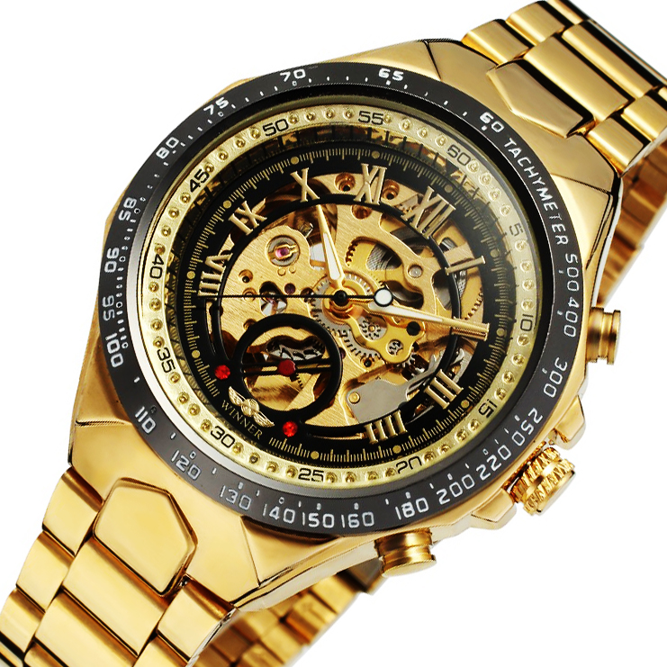 2017 WINNER Gold Watches Top Luxury Brand Men Automatic Mechanical Watch Male Skeleton Wristwatches Full Steel Sports Design