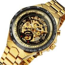 2017 GANADOR de Oro Relojes de Primeras Marcas de Lujo de Los Hombres Reloj Masculino Mecánico Automático Esquelético Relojes de Pulsera de Acero Lleno Deportes Diseño