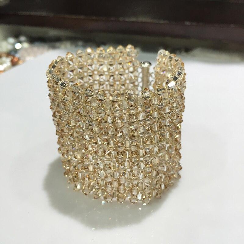 Champagne autriche cristal bracelet large wrapbracelet Hyperbole mode femmes bijoux fête bracelet livraison gratuite