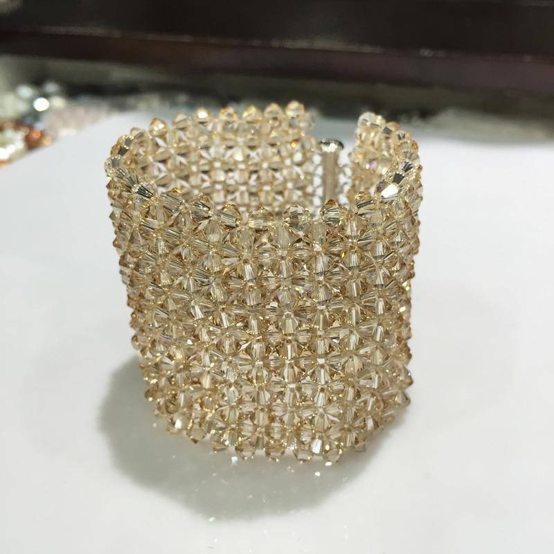 Здесь можно купить  champagne austria crystal bracelet wide wrapbracelet Hyperbole fashion women jewelry party bracelet free shipping   Ювелирные изделия и часы