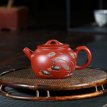 Teapot Full Manual Raw Ore Bright Red Robe Mandarin Ducks Playing In The Water Famous Fan Zi Hong Kung Fu Tea Have Teapot