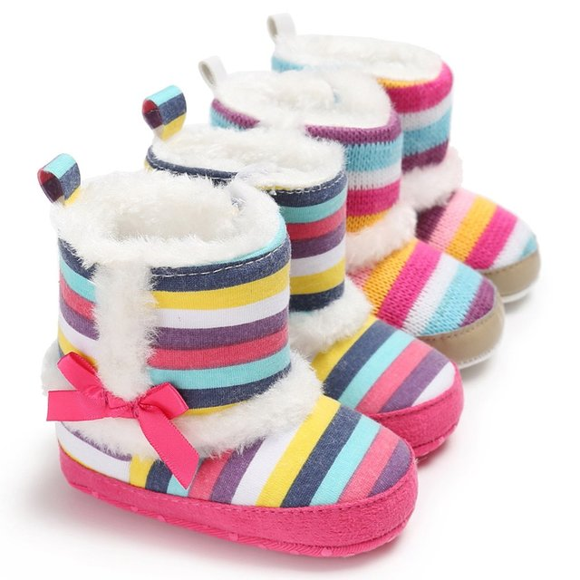Rainbow Stripes Baby Boots Shoes Winter Warm Color Stripes Baby Toddler  Woolen Boot Cotton Boots for Baby Learning Walk Shoes 8bbc292eb3ab