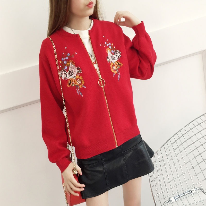 KL1307 New arrival autumn embroidery coat fashion zippers bomber jacket women knitted sweater cardigans