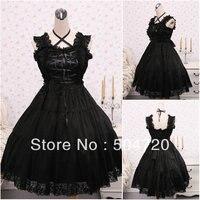 Custom madeV 1108 Black cotton Gothic School Lolita Dress/victorian dress Cocktail dress/Halloween costume US6 26 XS 6XL