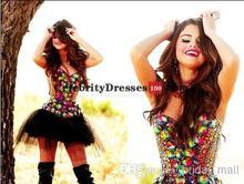 Sexy Luxus Bling Celebrity Kleider Inspiriert von Selena Gomez Liebsten Strasssteinen Verziert Mini Abendkleider Prom Kleider
