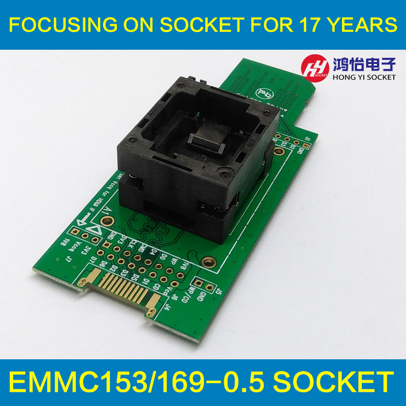 eMMC test Socket to SD, eMMC adapter, for nand flash testing, for BGA 169 and BGA 153, size 14x18mm , for data recovery new test seat turn the programmer bga socket 169 or 153 burning seat test fixture
