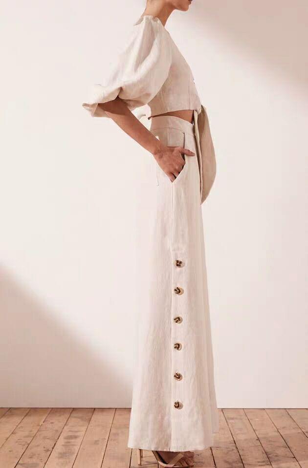 Manches Pièces V Pantalon Bas Taille Getsring Bouffantes 2019 Courtes Mode Décontracté 2 Femmes Couverture Nouvelle Haute Femme cou Coton Ensembles White Ensemble Large En 7qwwIaE