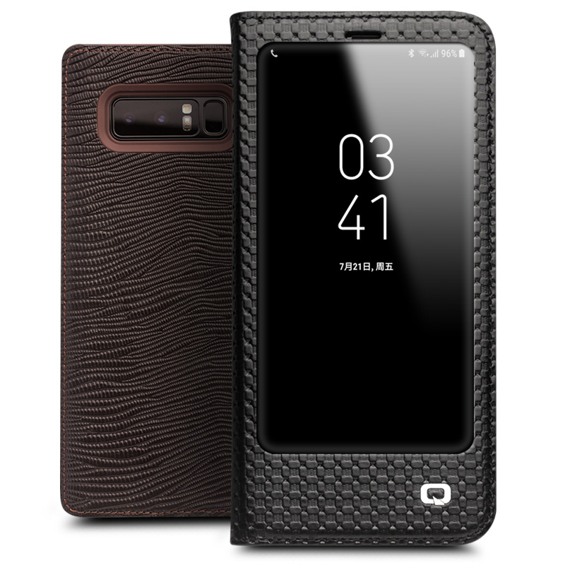 QIALINO Genuine Leather Luxury Flip Case for Samsung Galaxy Note 8 Fashion Stents Bag Phone Cover for Galaxy note8 for 6.3-inch
