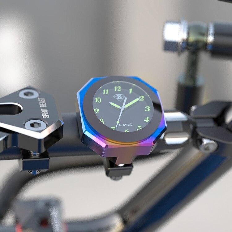 Universal 7/8 de polegada 1 polegada Motocicleta Guiador Montar Relógio À Prova D' Água Relógio Luminoso Relógio Bloqueado Para Guiador Moto Acessórios